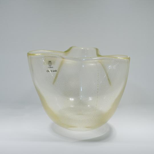 Vaso Trevo 3 Transparente com Ouro-E