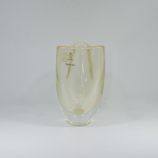 Vaso Trevo Mini Transparente com Ouro-E