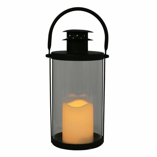 Lanterna de Metal e Vidro com Vela Led G