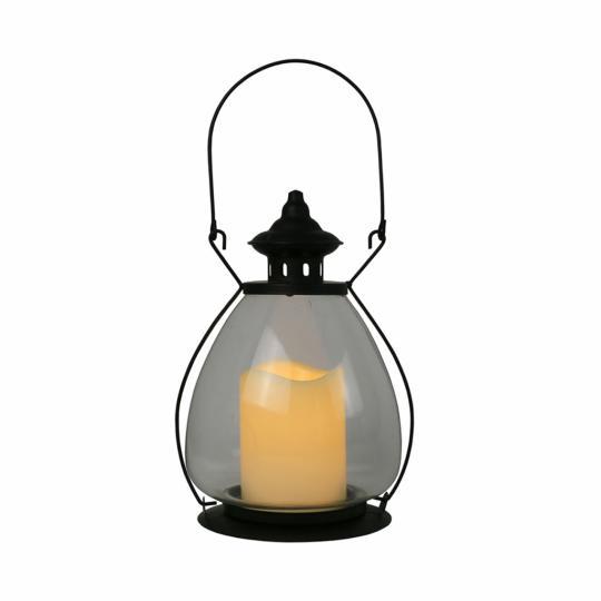 Lanterna de Metal e Vidro com Vela Led M