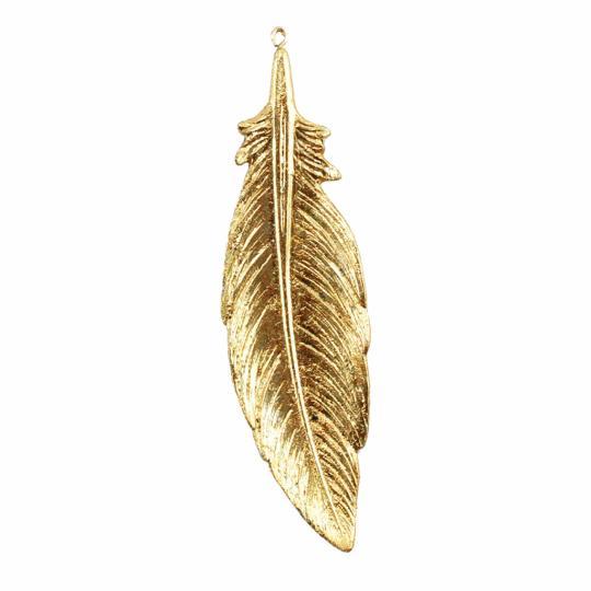 Pena Decorativa de Resina Dourada