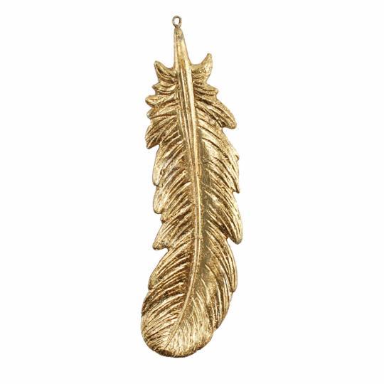 Pena Decorativa de Resina Dourada G