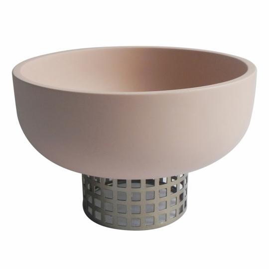 Vaso Decorativo de Resina e Metal Redondo
