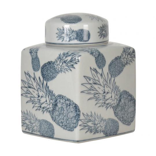 Pote de Porcelana Azul Claro Abacaxi