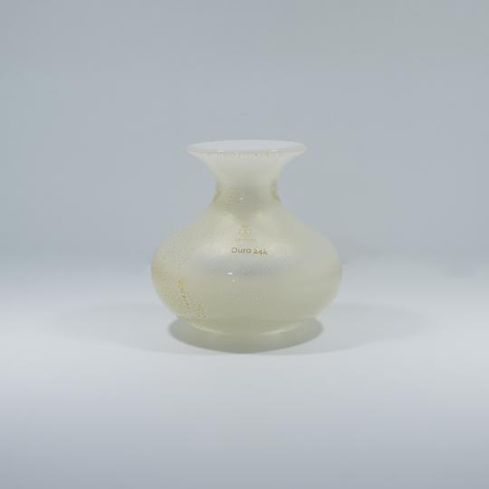Vaso Mini 4 Branco com Ouro