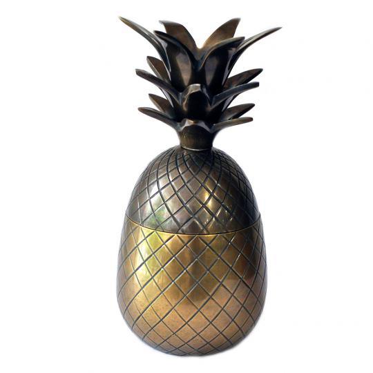 Abacaxi de Metal Dourado Envelhecido M