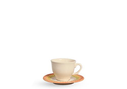 Jogo com 06 Xícaras de Chá com Pires Abacaxi Decorado