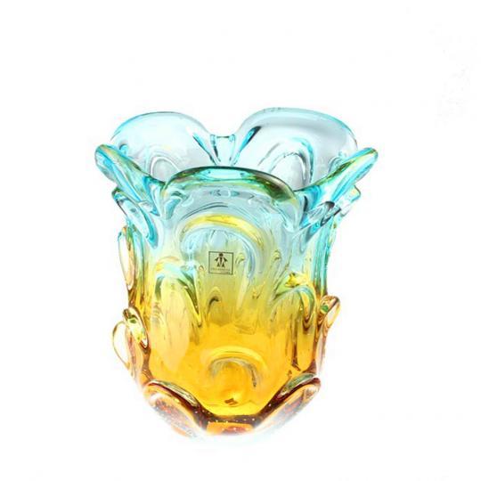 Mini Vaso de Cristal Ambar com Azul