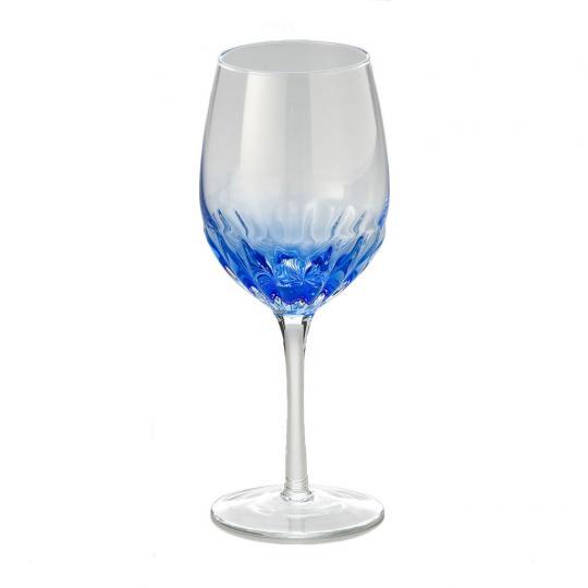 Jogo de 06 Taças de Vinho Transparente com  Azul