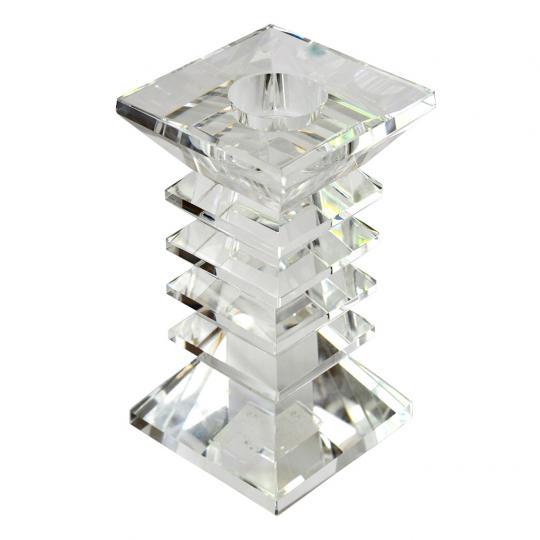 Castiçal de Cristal Zig Zag Médio