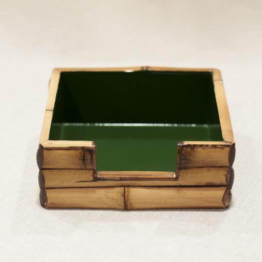 Porta Guardanapo De Papel P Bambu Natural Com Verde