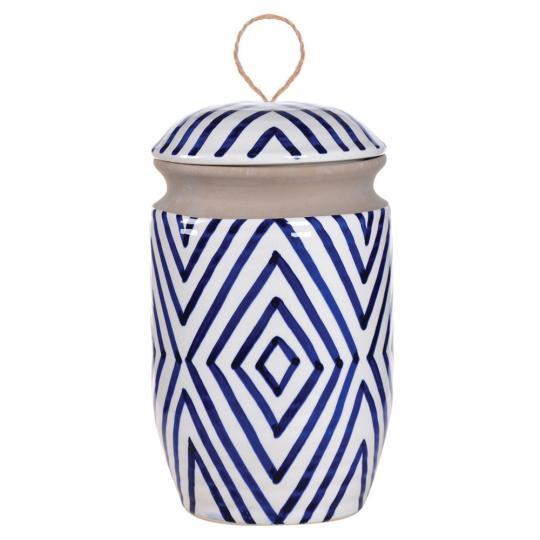 Potiche de Cerâmica Azul e Branco Índia M