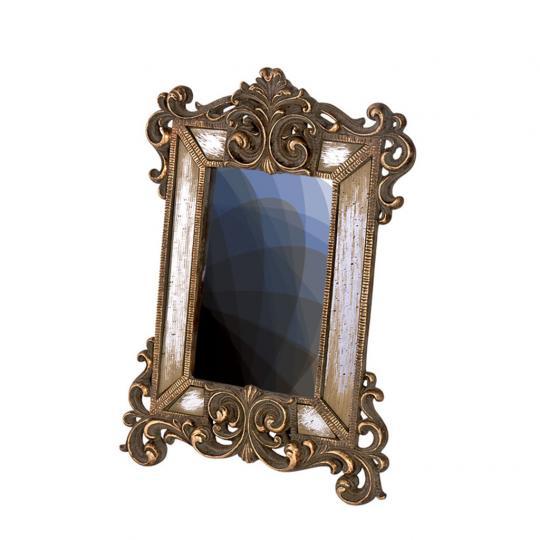 Porta Retrato em Resina e Espelho Dourado