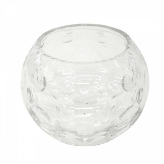 Vaso de Cristal Redondo com Alto Relevo de Circulos