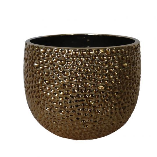 Vaso de Cerâmica Dourado Bubble M