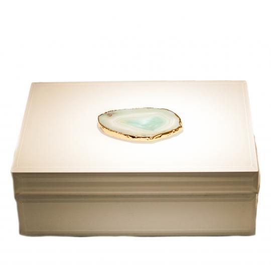 Caixa Decorativa Branca Com Pedra Agata Verde