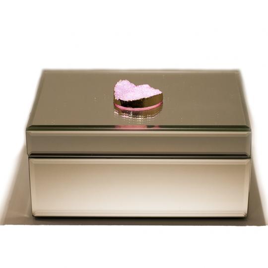 Caixa Decorativa Espelhada Com Pedra Quartzo Rosa