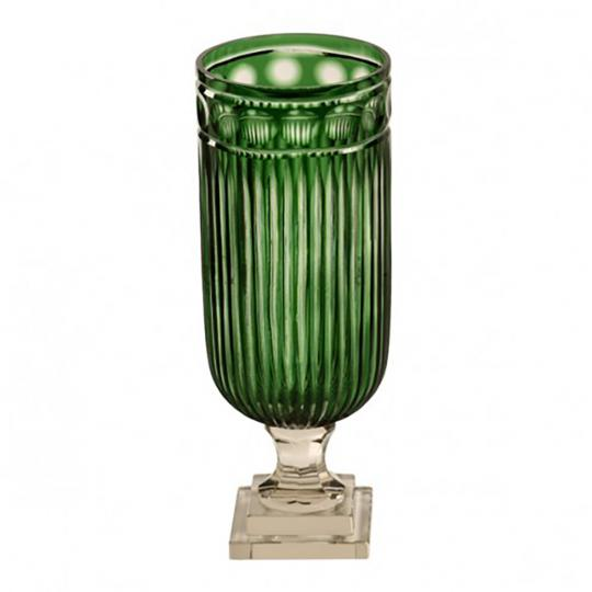 Castiçal de Cristal Lapidado Verde