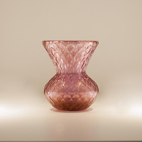 Vaso Ametista com Ouro Pequeno de Cristal de Murano