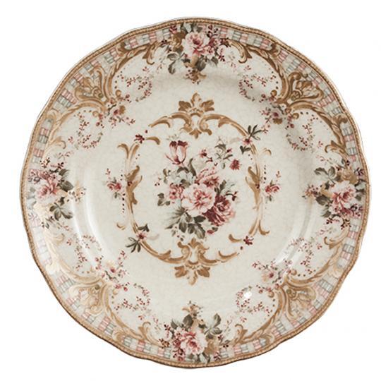 Jogo com 06 Pratos de Sobremesa de Porcelana Abington Rose Gold