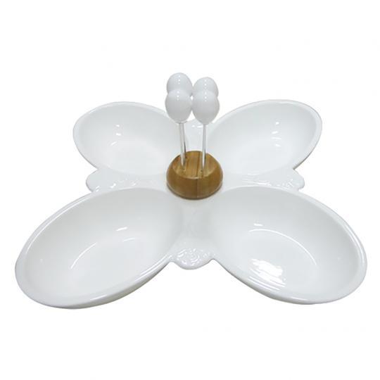 Petisqueira de Porcelana com 04 Espetos de Inox