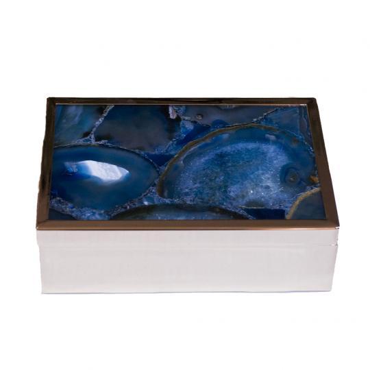 Caixa Decorativa de Vidro e Metal Azul