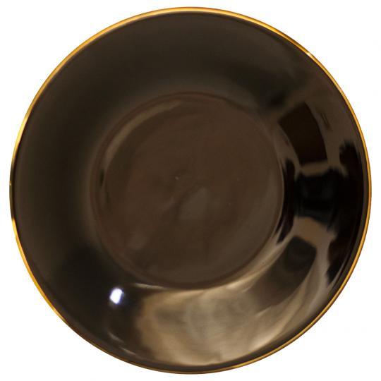 Prato de Jantar Preto com Borda Dourado