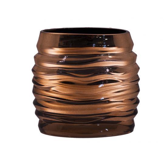 Vaso Decorativo de Vidro na Cor Bronze M
