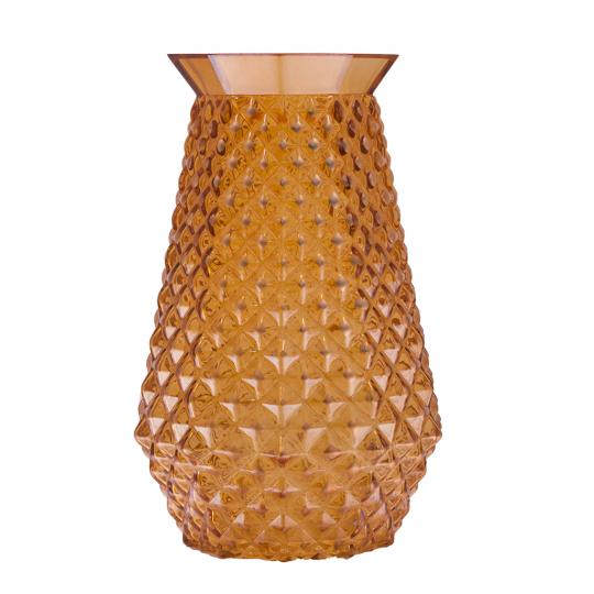 Vaso Decorativo de Vidro na Cor Laranja