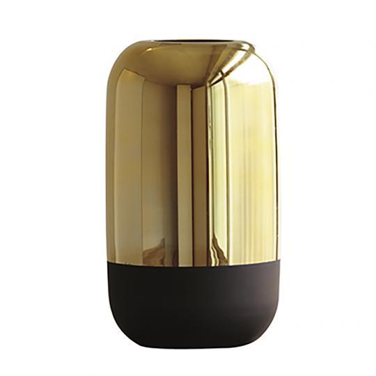 Vaso Dourado e Preto em Vidro