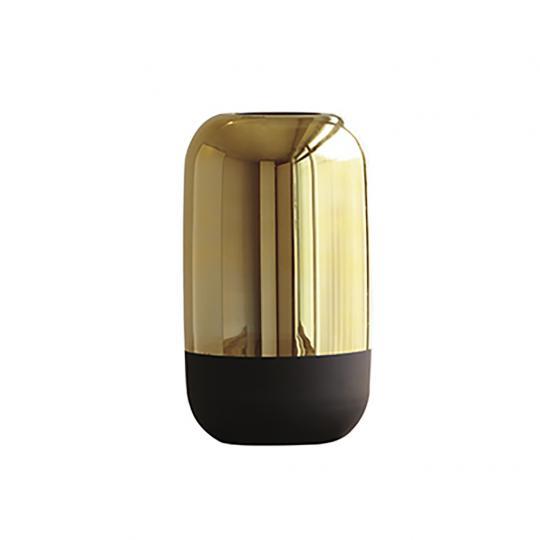 Vaso Dourado e Preto em Vidro P
