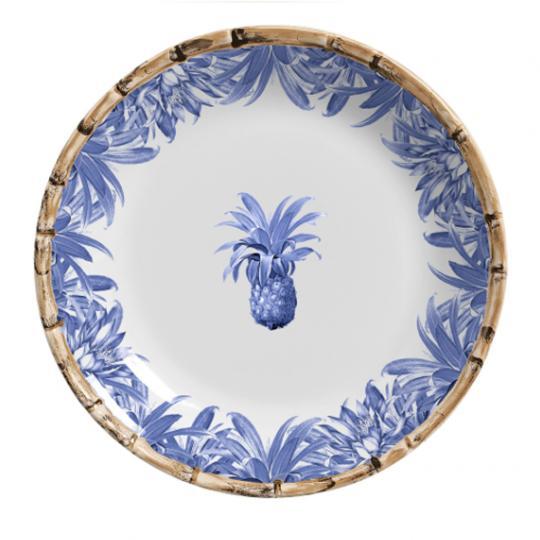 Jogo com 06 Pratos Rasos Abacaxi Azul Royal