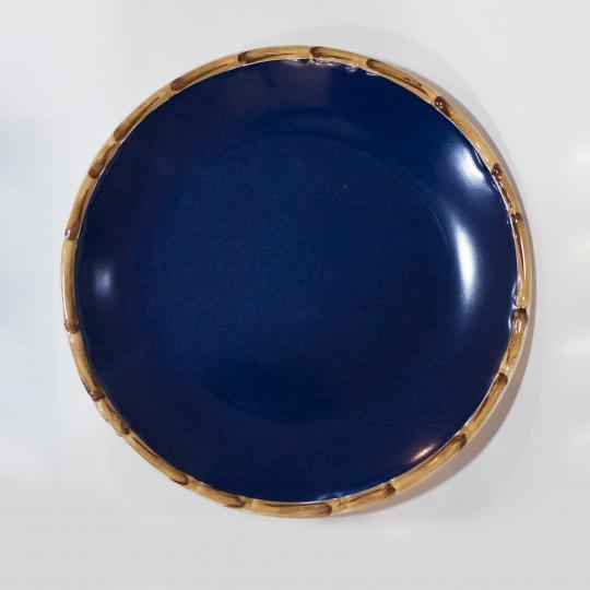 Jogo com 06 Pratos Rasos Bambu Azul