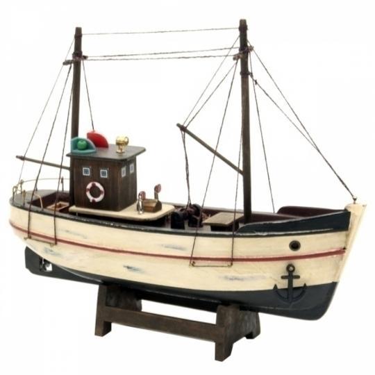 Barco Pesqueiro de Madeira Decorativo