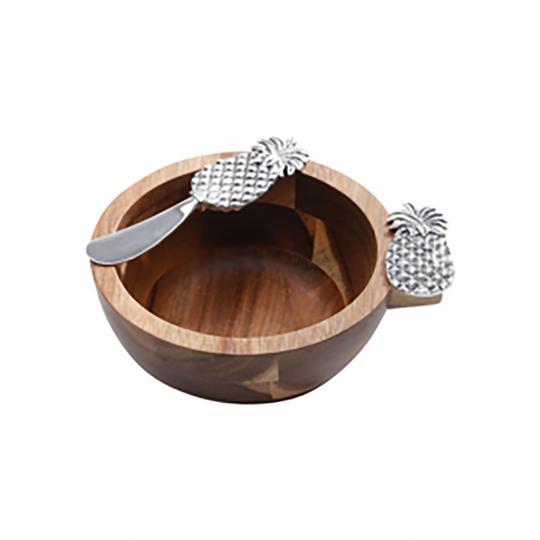 Conjunto Bowl de Acacia e uma Colher de Abacaxi