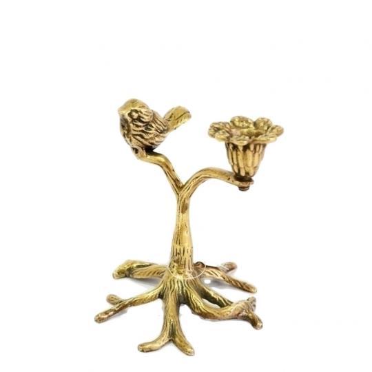 Castiçal Decorativo Árvore com Pássaro