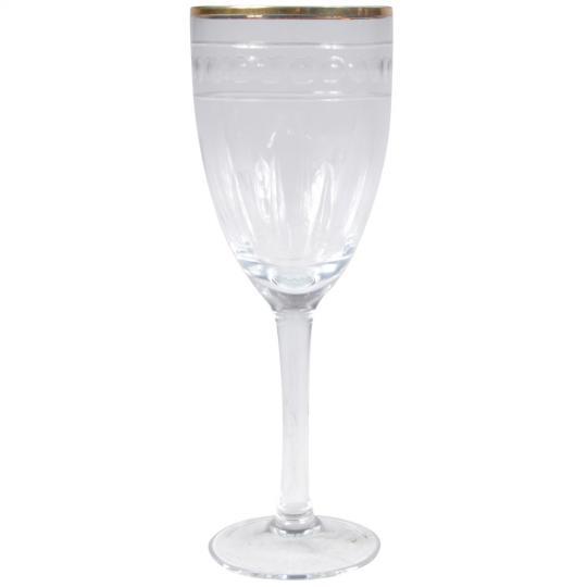Conjunto de 6 Taças para Vinho com Detalhe Dourado