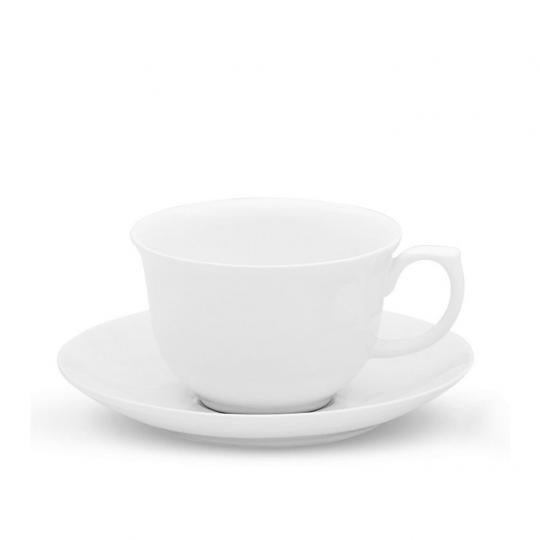 Jogo com 06 Xícaras de Chá com Pires Reto Flamingo White