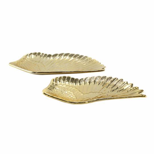 Conjunto de Pratos de Resina Dourado 02 Peças