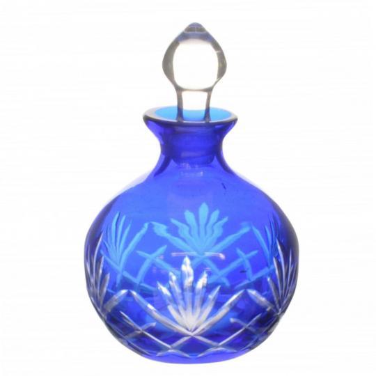 Garrafa Pequena de Cristal Lapidado Azul