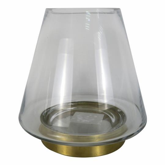 Vaso de Vidro com Dourado