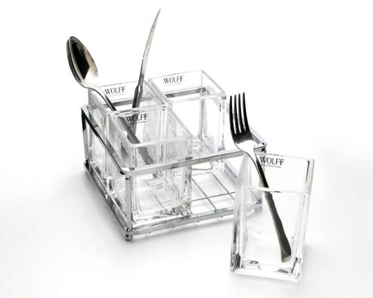 Porta Talheres de Cristal com Aço Inox