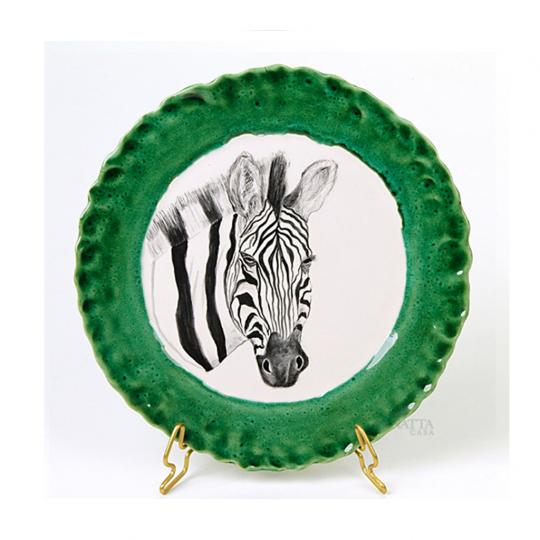 Prato de Sobremesa com Desenho de Zebra e Verde